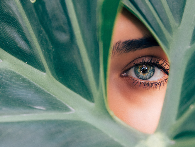 oeil femme feuille nature