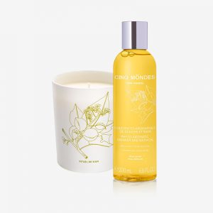 bougie et huile de douche aromatiques